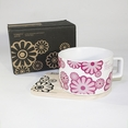 [Flower Pink] Espresso Cup / Wood Coaster (2.5 inch height)