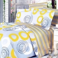 [Yellow Whirl] 100% Cotton 4PC Comforter Set (Twin Size)