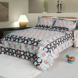 [Alice and Flower] Cotton 2PC Floral Vermicelli-Quilted Patchwork Quilt Set (Twin Size)