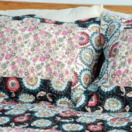[Alice and Flower] Cotton 3PC Floral Vermicelli-Quilted Patchwork Quilt Set (King Size)