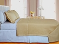 Gold Checkered Coverlet Set 3PC Egyptian cotton 400 Thread count(King/Calking Size)