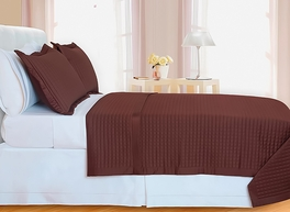Chocolate Brown Checkered Coverlet Set Egyptian cotton 400 Thread count Reversable(Twin Size)