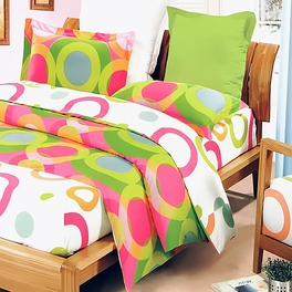 [Rhythm of Colors] 100% Cotton 3PC Mini Comforter Cover/Duvet Cover Set (King Size)