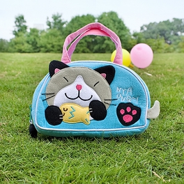 [Kitty Loves Fish] Embroidered Applique Kids Mini Handbag / Cosmetic Bag / Travel Wallet (7.1*4.3*2)