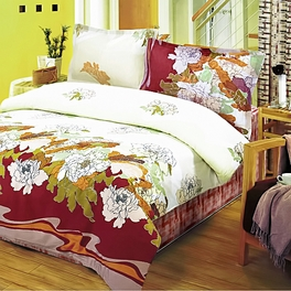 [Early Peony] 100% Cotton 4PC Duvet Cover Set (King Size)