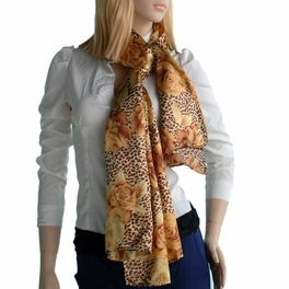 Brando Gold Leopard & Rose Floral Pattern Stylish super soft Silk Scarf/Wrap/Shawl(Small)