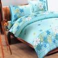 [Turquoise Flowers] 100% Cotton 4PC Duvet Cover Set (Queen Size)