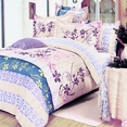 [Striped Orchid] 100% Cotton 4PC Duvet Cover Set (Queen Size)