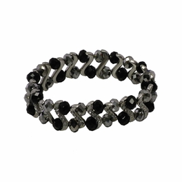 Black Silver Faceted Crystals Diamond Silver Spacer Bracelet Stretchable Stylish