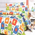 [Happy Friends] 100% Cotton 4PC Duvet Cover Set (Full Size)
