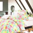 [Crystal Pink Plaid] 100% Cotton 4PC Duvet Cover set (Queen Size)
