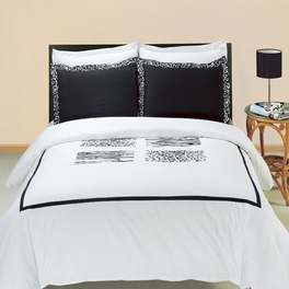 [Burbank Embroidered Printed Multi] 3PC Duvet covers Set (King/Cal-king)