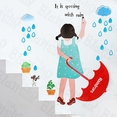 Rainy Girl - Large Wall Decals Stickers Appliques Home Decor