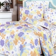 [Purple Orange Flowers] 100% Cotton 4PC Duvet Cover Set (Queen Size)
