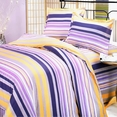 [Purple Yellow Stripes] 100% Cotton 4PC Duvet Cover Set (Queen Size)