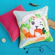 [Bunny & Carrot] Embroidered Applique Pillow Cushion / Floor Cushion (19.7 by 19.7 inches)