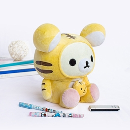 [Rilakkuma - White] Plush Gadget Storage Box / Trinket Box / Pen Pencil Holder (9.8 inch height)