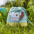 [A Sunny day] Embroidered Applique Fabric Art Draw String Bag / Drawstring Pouch (5.7*6.7)