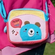 [Blue Bear] Embroidered Applique Swingpack Bag Purse / Wallet Bag / Shoulder Bag (5.5*4.7*1.2)