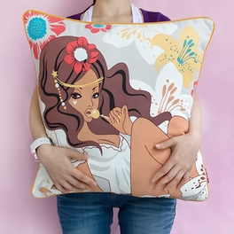 [Candy Girl] Cotton Decorative Pillow Cushion / Floor Cushion (19.7 by 19.7 inches)