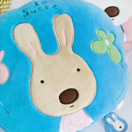 Sugar Rabbit Round Blue Blanket Pillow Cushion