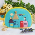 [A Windy Day] Embroidered Applique Cosmetic Bag / Camera bag / Hand Purse Wallet (7.1*5.1*2.8)