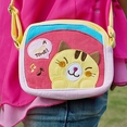 [Yellow Kitty] Embroidered Applique Swingpack Bag Purse / Wallet Bag / Shoulder Bag (5.5*4.7*1.2)