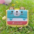 [Love Bear] Embroidered Applique Fabric Art Trifold Wallet Purse / Card Holder (4.5*3.5)