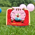 [Tarro story - Pink Cat] Embroidered Applique Fabric Art Wallet Purse / Card Holder (4.9*3.9)