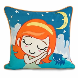 [Missing You] Embroidered Applique Pillow Cushion / Floor Cushion (19.7 by 19.7 inches)