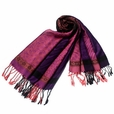 Pa-33-1 Pink Lovely Little Flower Patterns & Stripe Mix-Style Tassel Ends Silky Pashmina/Shawl/Scarf