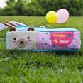 [Cute Bear] Embroidered Applique Pencil Pouch Bag / Cosmetic Bag / Carrying Case (7.5*2.4*1.6)