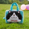 [Cheese Cat] Embroidered Applique Kids Mini Handbag / Cosmetic Bag / Hand Purse Wallet (5.9*3.9*1.2)