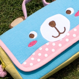 [Blue Bear] Embroidered Applique Pencil Pouch Bag / Cosmetic Bag / Carrying Case (7.9*4.3*1.4)