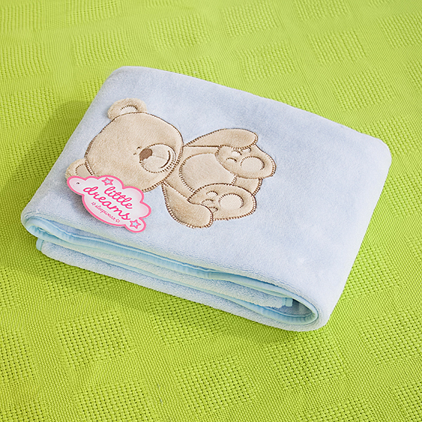 Lovely bear embroidered applique polar fleece baby throw