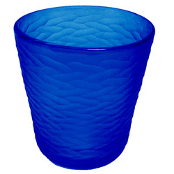 Frosty cobalt etched glass ice bucket