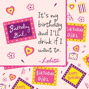 Lolita Birthday Girl Beverage Napkins