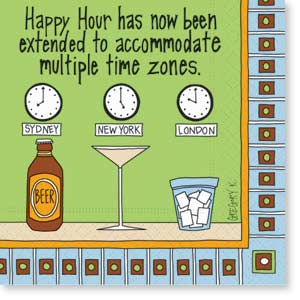 Multiple Time Zones Simply Funny Cocktail Napkins