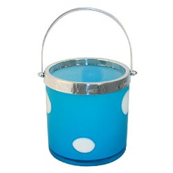Art Glass Light Blue Polka Dots Ice Bucket