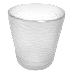 Frosty white etched glass ice bucket