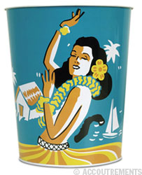 Hula Girl Metal Wastebasket by Accoutrements