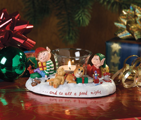 And To All A Good Night Jingle Elves Tealight Holder-Retired