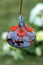 Glass Batik 3 Petal Hummingbird Feeder Lavender