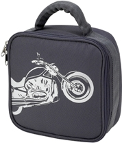Gray Square Biker Lunch Bag by Four Peas