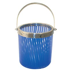 Cobalt Blue Striped Art Glass Ice Bucket