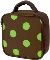 Lime Polka Dot Square Lunch Bag by Four Peas