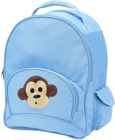 Light Blue Monkey Full Size School Backpack by Four Peas