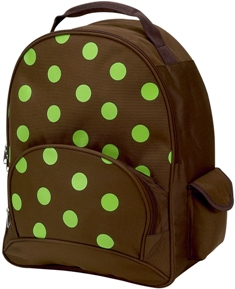 Lime Polka Dot Full Size School Backpack by Four Peas