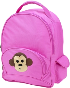 Pink Monkey Full Size School Backpack by Four Peas