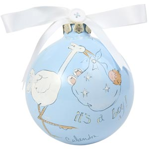 Baby Boy w/Stork Cute As a Button Ornament